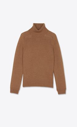 Saint Laurent Wool Turtleneck Sweater Camel L
