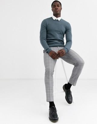 Asos Design DESIGN muscle fit merino wool sweater in denim blue