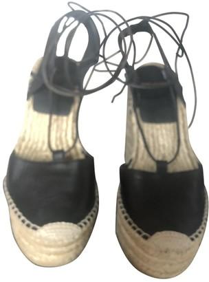Saint Laurent Brown Leather Espadrilles