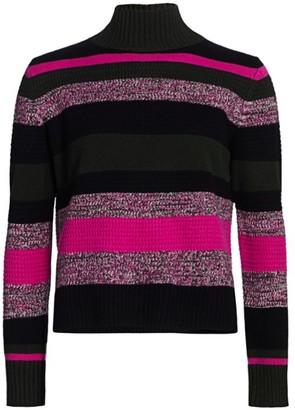 Akris Punto Striped Wool & Cashmere Turtleneck Knit Sweater