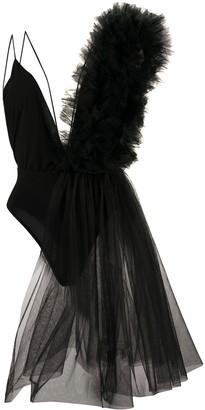 Alchemy Asymmetric Tulle-Embellished Bodysuit