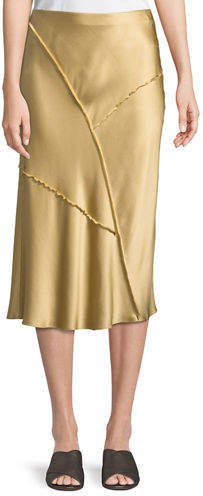 Vince Raw-Edge Silk Midi Skirt