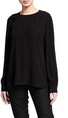 Eileen Fisher Slit Neck Long-Sleeve Silk Georgette Blouse