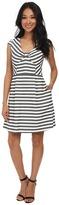 Jessica Simpson Cap Sleeve Stripe Fit & Flare Dress JS5M7039
