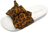 Wild Diva Leopard Print Bow-Accent Matty Slide