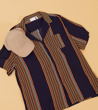 ASOS DESIGN Tall relaxed fit retro stripe shirt in deep revere with pocket