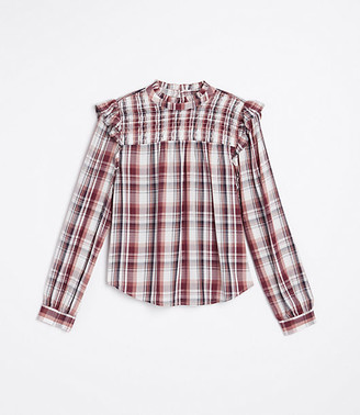 LOFT Plaid Smocked Yoke Blouse