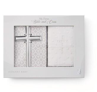 Elegant Baby Heirloom Bible and Ceramic Cross Set