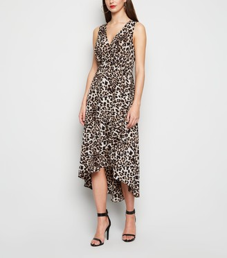 New Look Leopard Print Dip Hem Midi Dress