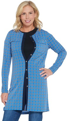 Susan Graver Printed Liquid Knit Button-Front Tunic