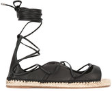 DSQUARED2 lace-up espadrille sandals - women - Jute/Leather/Nappa Leather/rubber - 37