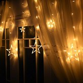 Star Light, Ucharge Fairy Star Curtain Light 12stars 138leds 6.6foot Warm White Window Curtain String Fairy Led Lights for Weddings, Party, Holiday, Bathroom, Xmas Decortaions
