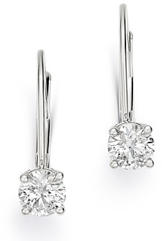 Bloomingdale's Diamond Solitaire Leverback Earrings in 14K White Gold, 0.60 ct. t.w. - 100% Exclusive