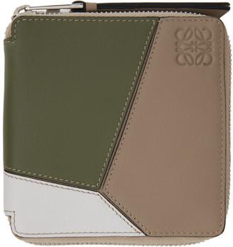 Loewe Green and Beige Puzzle Square Zip Wallet