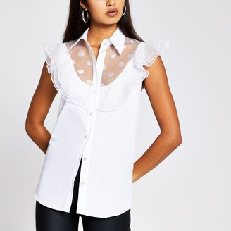River Island Womens White sleeveless mesh frill detail shirt
