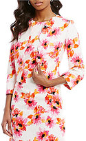 Kasper 3/4 Sleeve Daisy-Print Scalloped Jacket