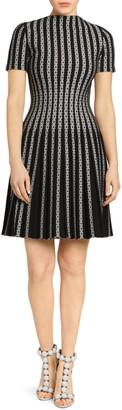 Alaia Plisse Twist Short-Sleeve Knit Wool-Blend A-Line Dress