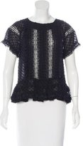 RED Valentino Lace-Trimmed Short Sleeve Blouse