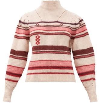 Etoile Isabel Marant Georgie Striped Alpaca-blend Sweater - Womens - Pink Multi
