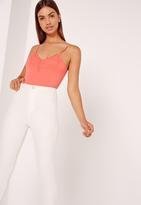 Missguided Lace Trim Bodysuit Orange