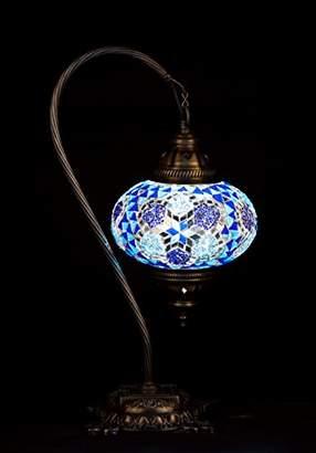 Blue Handmade Turkish Lamp Moroccan Ottoman Style Mosaic Swan Neck Desk Table Light Bedroom Restaurant Cafe Decoration Light Size 3