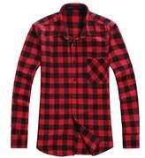 Benibos Men's Classic Long Sleeve Plaid Flannel Shirt (, Red Black)