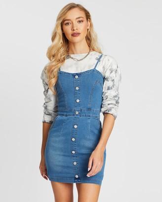 Missguided Button Detail Stretch Denim Mini Dress