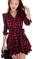 Daxin Lady Retro Long Sleeve Plaid Lapel V Neck Skirt Belted Casual Shirt Dress