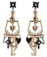 BCBGeneration Keys to My Heart Crystal Multi Charm Chandelier Earrings