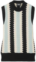 Calvin Klein Crochet-knit Wool And Cotton-blend Top - Sky blue