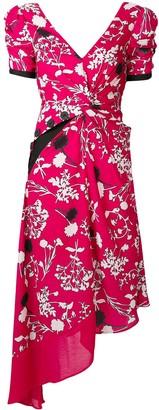 Self-Portrait Asymmetric Floral Midi Dress