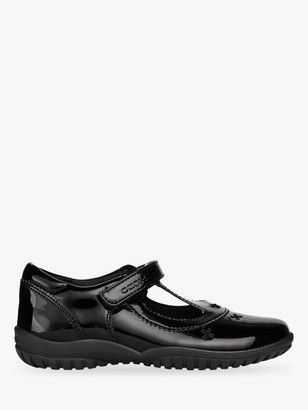 Geox Children's J Shadow T-Bar School Shoes, Black Patent