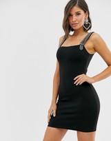 Rare London diamonte strap bodycon dress in black