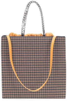 Victoria Beckham Checked leather-trimmed tote