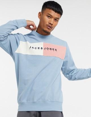 Jack and Jones Originals logo sweatshirt in light blue