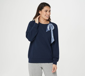 AnyBody French Terry Pullover with Neck Bow