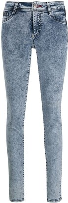 Philipp Plein Acid Wash Denim Leggings