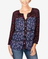 Lucky Brand Cutout Printed Blouse