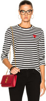 Comme des Garcons Cotton Red Emblem Stripe Tee