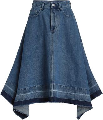 J.W.Anderson Women's Released-Hem Denim Midi Skirt - Medium Wash - Moda Operandi