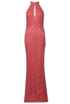 Quiz Coral Lace Halter Neck Fishtail Maxi Dress