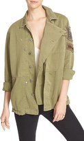 Free People Women's Embellished Military Shirt Jacket
