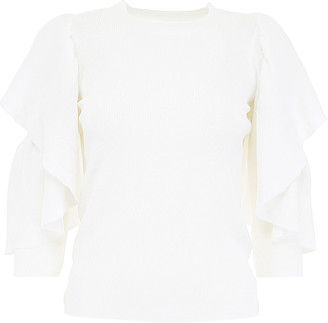 See by Chloe Ribbed Knit Top With Ruffles