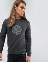 Pretty Green Sweatshirt With Paisley Logo Applique In Slim Fit Gray