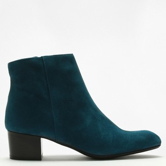 Lamica Blue Suede Low Block Heel Ankle Boots