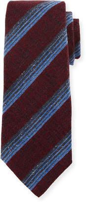 Kiton Variegated Stripe Wool/Silk Tie, Red