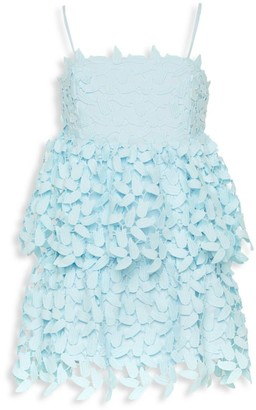 Bardot Junior Girl's Darcy Leaf Lace Eyelet Tier Ruffle A-Line Dress