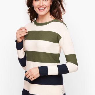 Talbots Button Detail Sweater - Stripe
