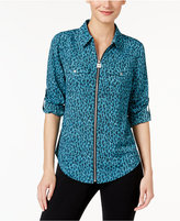 MICHAEL Michael Kors Leopard-Print Zip-Front Shirt, Created for Macy's