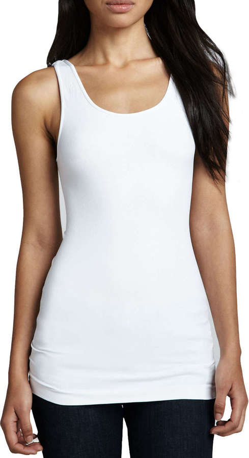 Neiman Marcus Cusp by Formfitting Jersey Tank, White